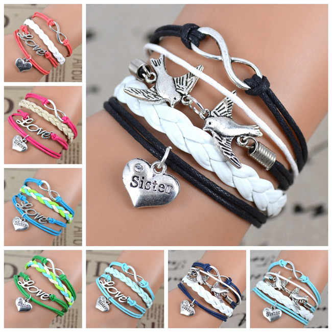 2017 New Fashion Infinity Love Birds Sister Charm Bracelet With Handwoven leather Bracelets for Women Man Valentine's Day Gift