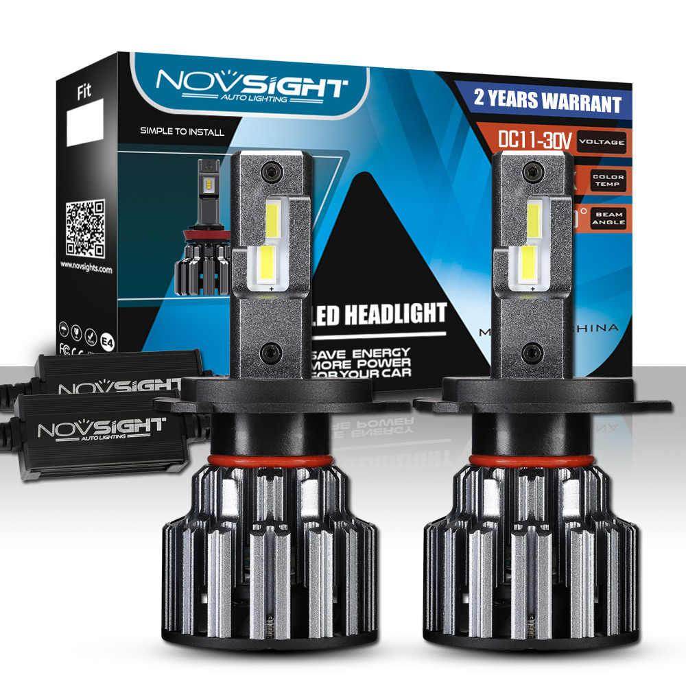 NOVSIGHT H7 светодиодный H4 H11 9006 9005 яркие автомобильные лампы, лампы 90 Вт 15000LM декодер светодиодная фара головного света автомобиля передние фары 6000K 12V 24V