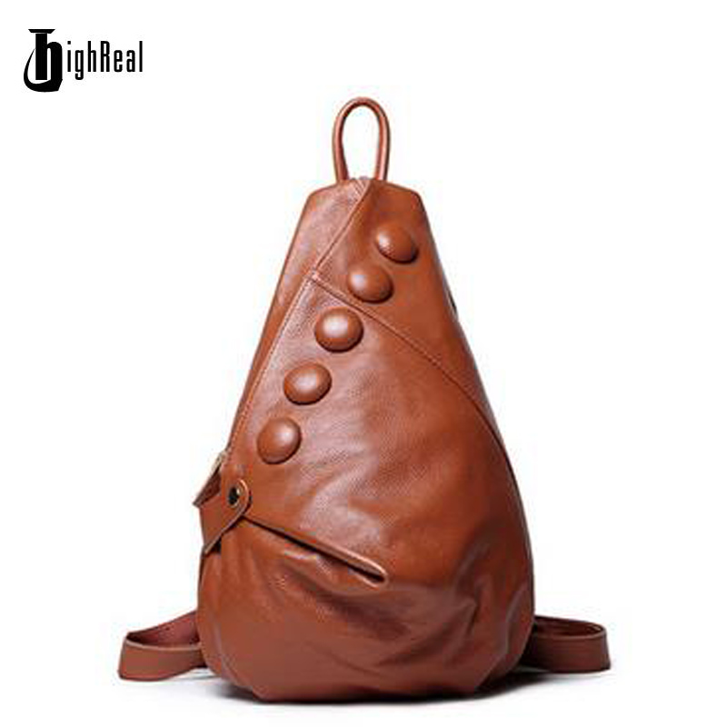 HIGHREAL Fashion Genuine Leather Backpacks First Layer Cowhide Women Backpack Desiger Brand Women Travel Bags School Back Pack quality genuine leather backpack first layer of cowhide men s backpacks fashion travel bags school bag free shipping vp j6085