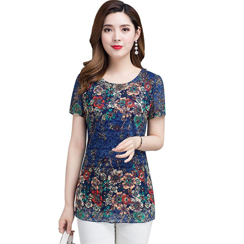 Fashion Women Spring Summer Style Chiffon   Blouses     Shirts   Lady Casual Flower Printed Short Sleeve Blusas Tops DF2662