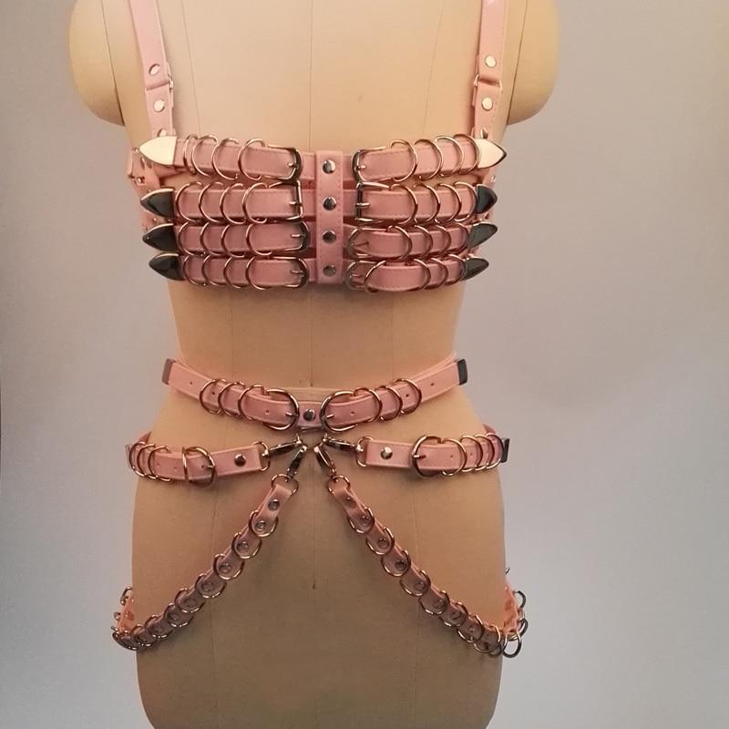 100% Handmade Punk Gothic PU Leather Bra Top Heavy Duty 4 Row Body Waist Belt Waist Cincher Suspender