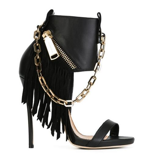 Punk Style 2016 Chains Fringed Women Sandals High Heels Gladiator Sandalias Pumps Side Zip Tassel Rocker Stiletto Wedding Shoes