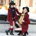 Девушки зима шерстяное пальто плед куртка женщины теплый мода семья посмотрите clothing соответствия мать дочь одежда Наряды пальто