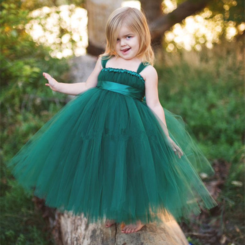 Hot Selling Princess Tulle Flower Girl Dresses Kids Pageant Ball Gown Girls Party Prom Birthday Bridesmaid Wedding Tutu Dress ball gown sky blue open back with long train ruffles tiered crystals flower girl dress party birthday evening party pageant gown