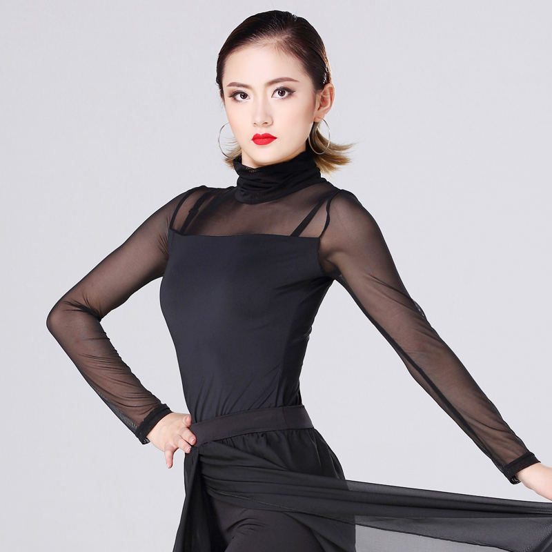 Latin Dance Top Women Black Net Yarn Long Sleeve Shirts Adults Salsa Tango Samba Dancing Clothes Practice Dancewear DNV11157