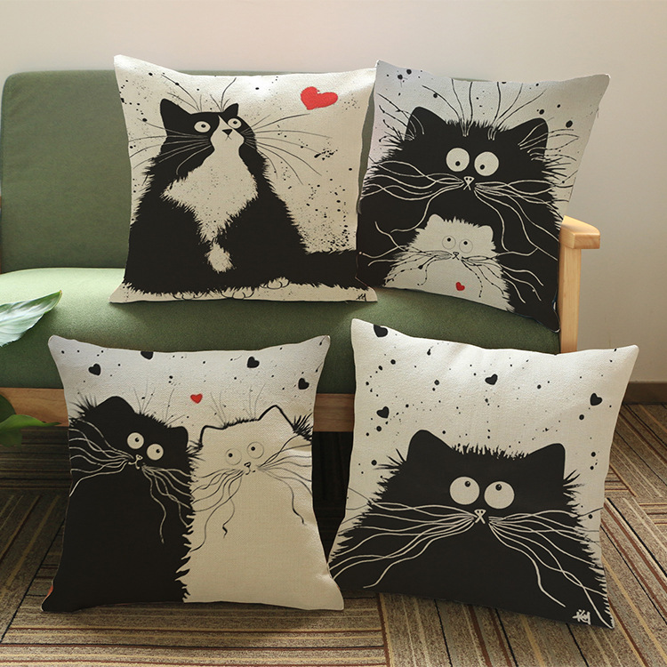 2016 Animals Black Cats Cushion Without Core Custom Cotton