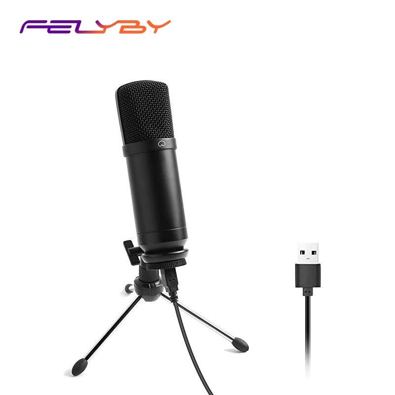 FELYBY AU-A04TR Microphone d'ordinateur Usb filaire pour PC, vie, YouTube, enregistrement de jeu, micro de Studio de Podcast vocal