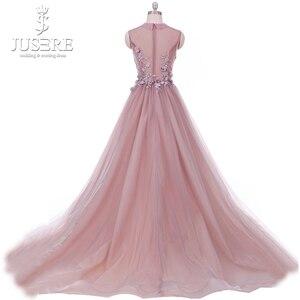 Image 3 - Real Photo Blush vestido longo de festa Paux V Cổ Ảo Giác Vạt Áo với Floral Appliques MỘT dòng Hoa Vải Tuyn Prom ăn mặc