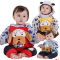 2016 nuevos niños de conjuntos de ropa de invierno con dibujos animados diseño del perro del bebé de invierno con capucha establece coat + pant niños arropan los sistemas, C267