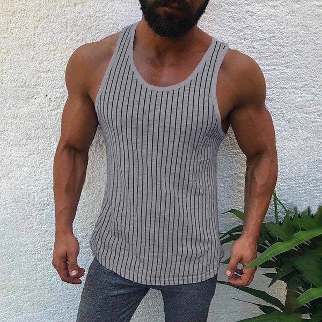 2019 New Brand Mens Compression   Tank     Tops   Men Breathable Suits Men's stripe Fitness Gyms Suits Men Gyms Sets   Top   Blouse