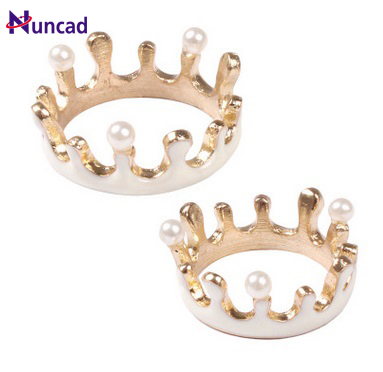 2017 Hot Fashion Japanese soft texture Sweet lovely milk imitation pearl crown Worth buying Favourite ring
