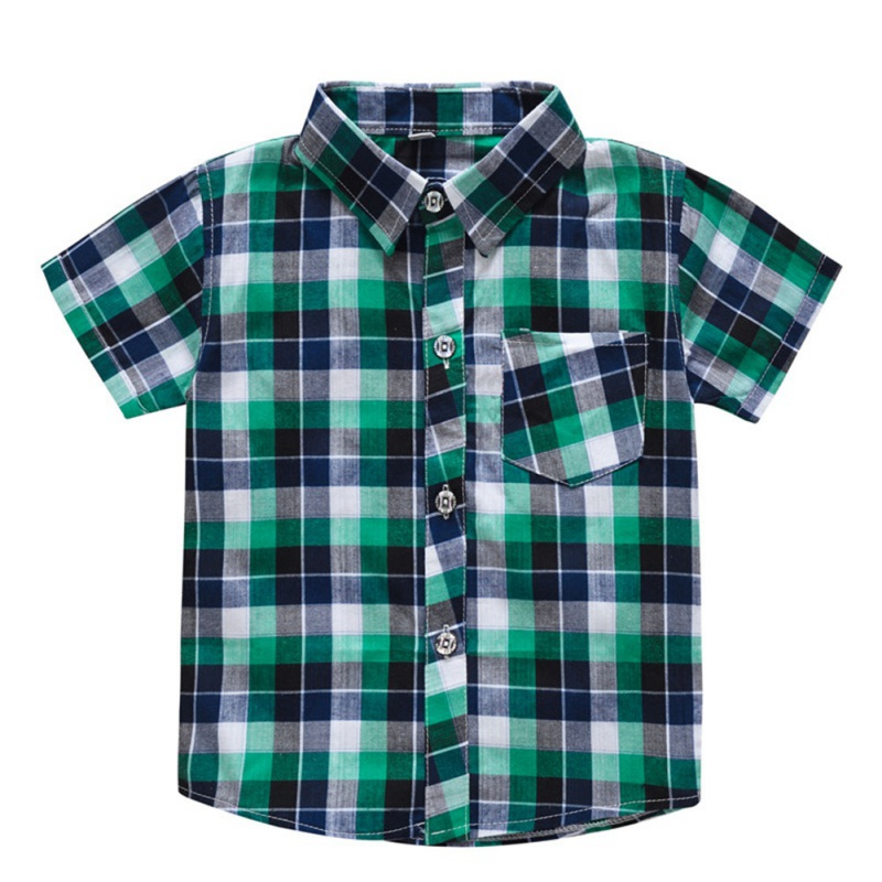 Baby Boys Short Sleeve Plaid Print Kids Tops Casual   Blouse   0-5T Lovely Toddler Baby Clothes