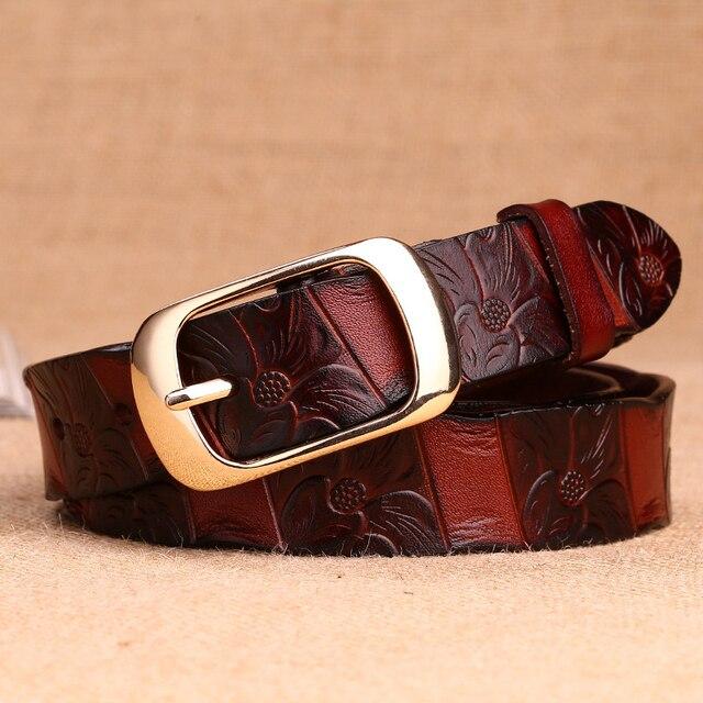 print Women's thin belt of genuine leather Pin Buckle designer belts women high quality luxury women brand belt female Strap