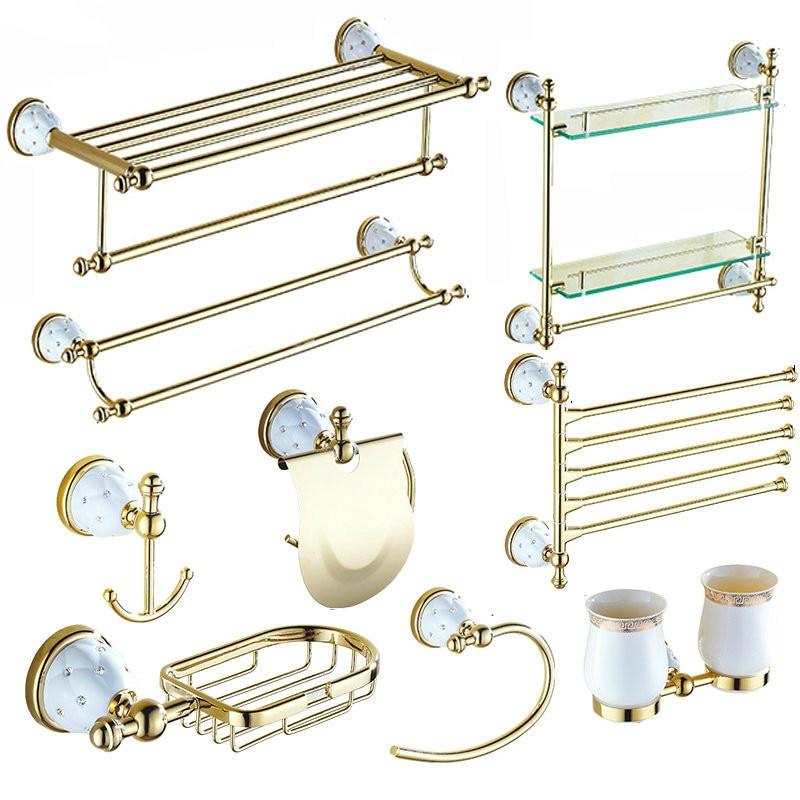 European gold Bathroom hardware set stainless steel ceramic bath towel rack gold fold bathroom accessories setEuropean gold Bathroom hardware set stainless steel ceramic bath towel rack gold fold bathroom accessories set