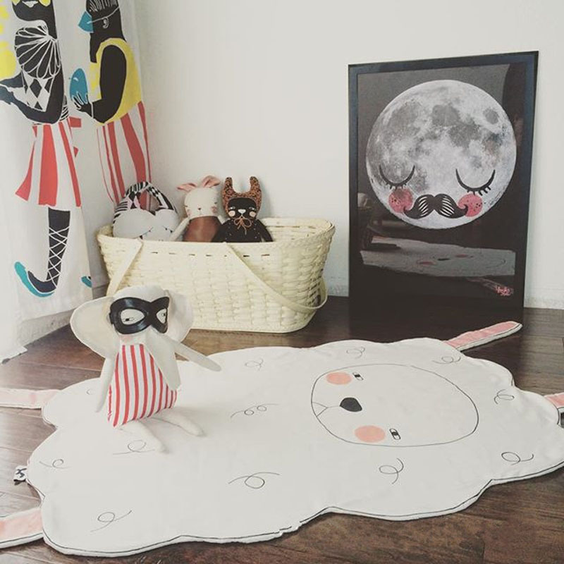 2016 nouveau mode bébé jeu tapis 100% coton enfants chambre tapis belle agneau animaux tapis chambre salle de bains salon footfabric - 2
