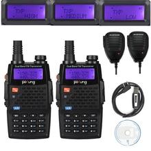 2x baofeng f9 + tp 8 w hx tri potencia ham radio de dos vías Walkie Talkie con 2 Micrófono Altavoz Remoto y 1 Cable de Programación