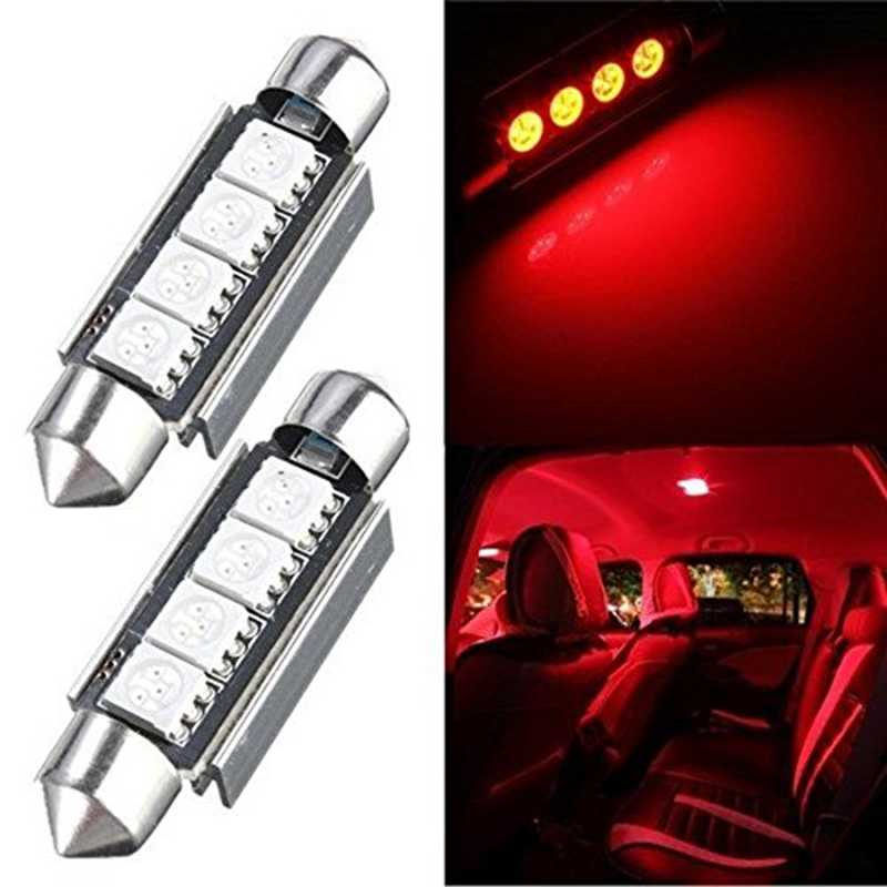 2 Pcs Katur 42 Mm 4 LED 5050 SMD Membangun Kubah Light LED 42 Mm Merah LED Mobil Auto Interior memperhiasi Dome Peta Light Bulb Lampu