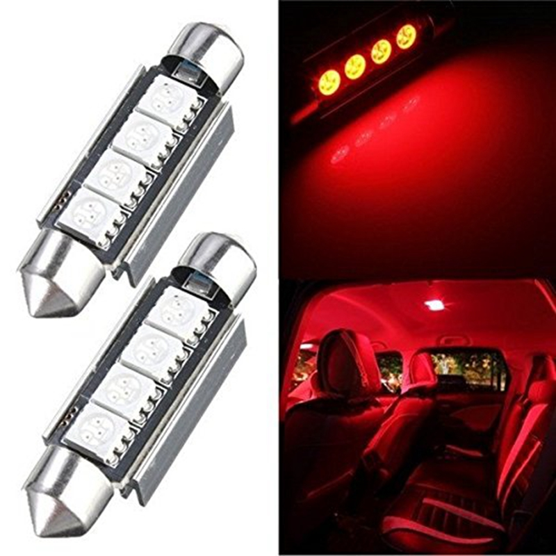 2pcs KATUR 42MM 4 LED 5050 SMD Festoon Dome Light Led 42mm Red Car Led Auto Interior Festoon Dome Map Light Bulb Lamp