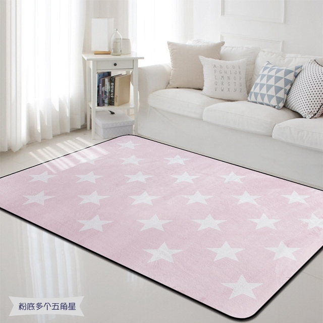 100x150cm Nordic Pink White Star Carpet Rug Thick Soft Kids Room Children Play Area Mat Rectangle