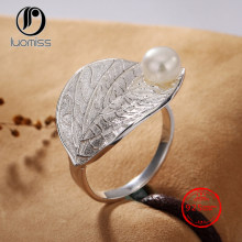 Vintage S925 Sterling Silver Leaf Plum Hetian Jade White Jade Pearl Open Ring(China)