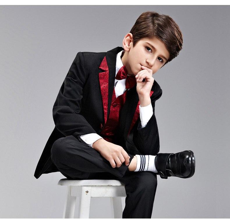 Gentleman boys formal blazer suits 4pcs coat+pants+vest+tie costume wedding birthday party children boy sets sapfire gentleman 4