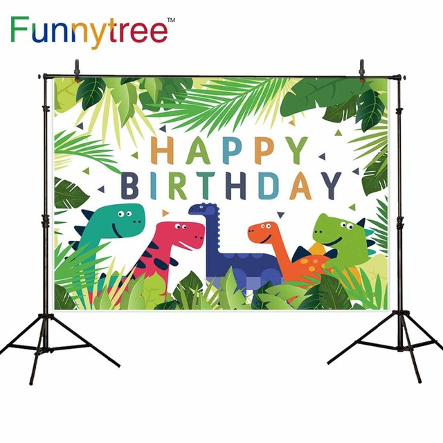 Funnytree backgrounds for photography studio Safari birthday Dinosaur party children leaves Jungle cartoon backdrop photocall