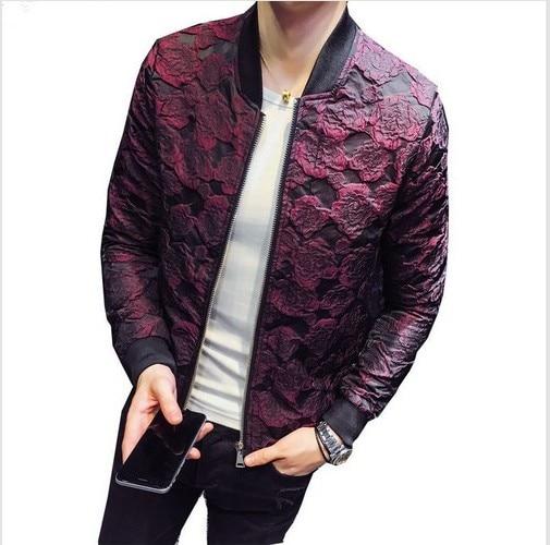 2018 New Spring Jacquard Jackets Bomber Men Luxury Wine Black Red Gray Jacket Party Outfit Club Bar Coat Men Jacket Men 4XL