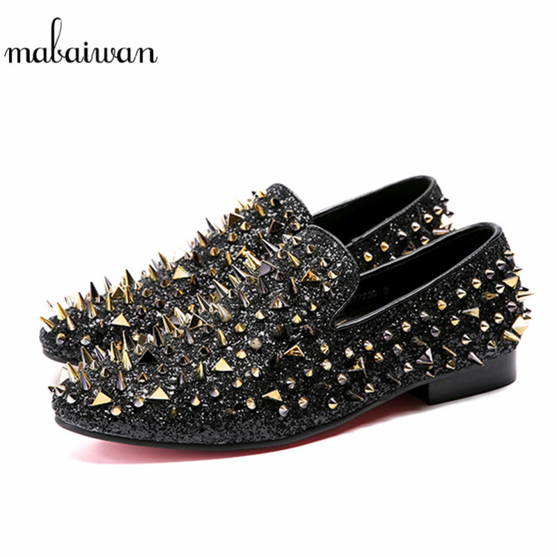 Mabaiwan 2018 New Fashion Men Loafers Gold Rivets Slipper Wedding Dress Shoes Men Slip On Sequined Cloth Handmade leather Flats new fashion gold snakeskin pattern loafers men handmade slip on leather shoes big sizes men s party and prom shoes casual flats