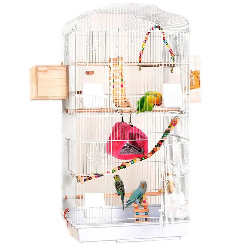 Pliable En Métal Perroquet Villa Oiseau Cage Muguet Étourneau Perroquet Cage Trois-histoire Accrue Oiseau Construisant Version Améliorée 46*36*93