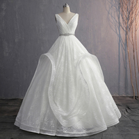 V neck Sexy Wedding Dress Plus Size 2019 Ivory Lace Sukienka Na Wesele Simple Trouwjurken Bridal Gown Vestido de Noiva Princesa