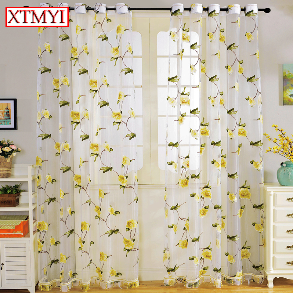 Modern tulle curtains for living room Yellow Roses Floral Translucidus window curtains for bedroom drapes Home Decor blinds