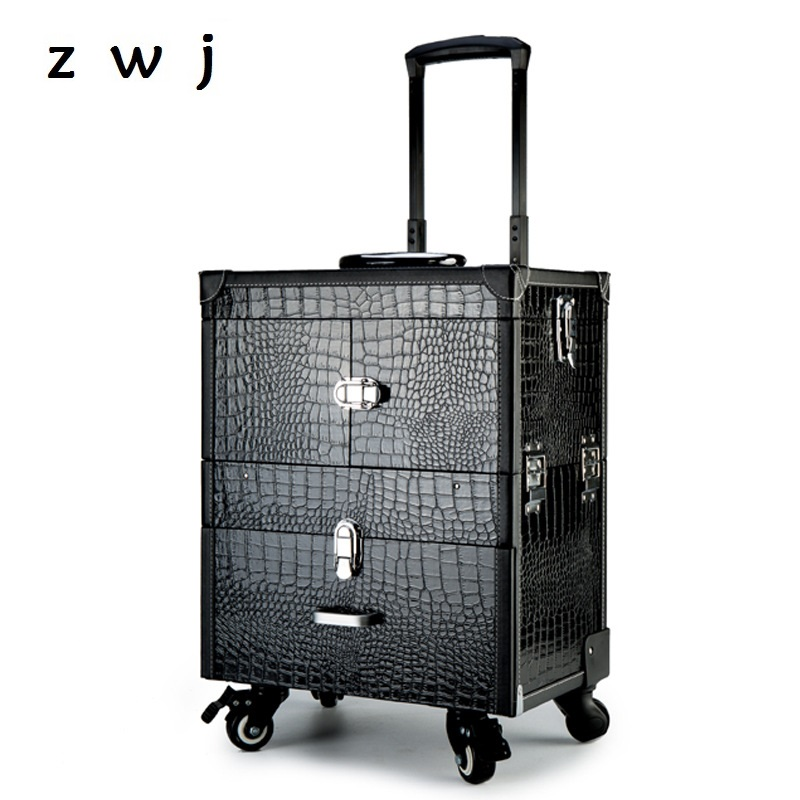 Professional aluminum trolley luggage cosmetic box universal wheel pull rod nail with makeup embroidery hairdressing toolbox
