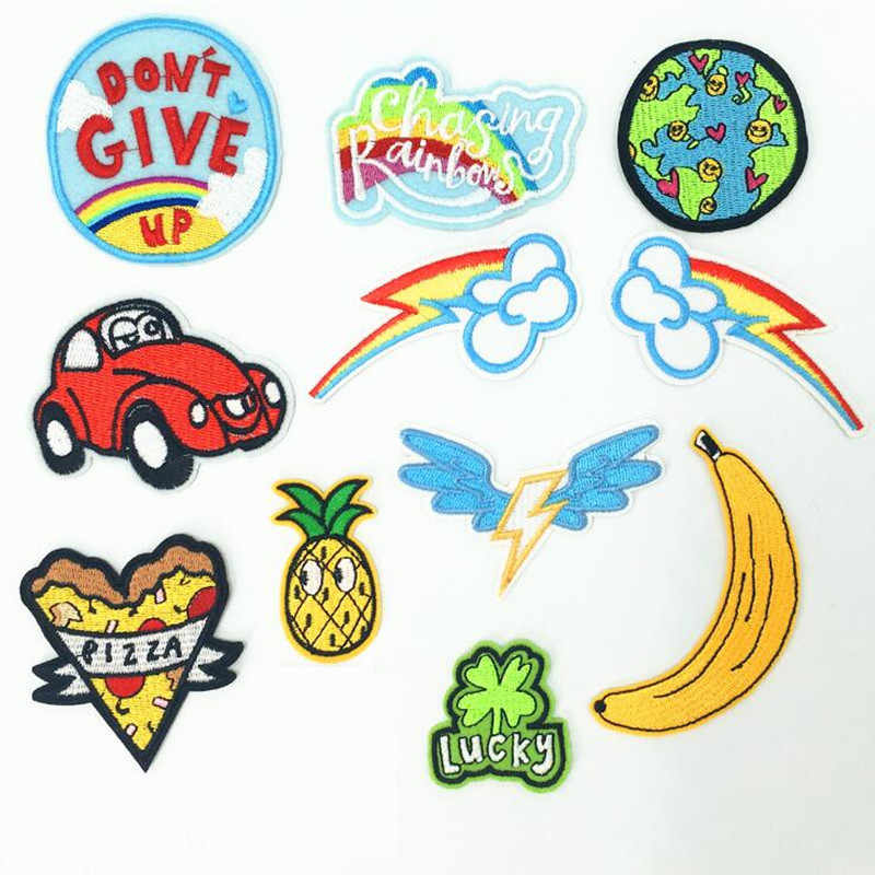 Cartoon Fruit Earth Repair Hole Badge Patch Embroidered Patches For Clothing Iron On For Close Shoes Bags Badges Embroidery DIY