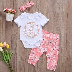 Комплект летних брюк для маленьких девочек, боди для новорожденных, комбинезон, комплект одежды