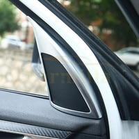 2Pcs Set ABS Chrome A Column Front Door Audio Circle Trim Sticker For BMW X1 F48