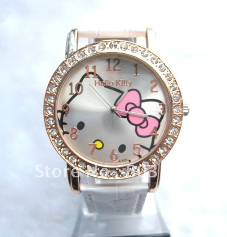 c8594561c 30pcs/lot New Big dial lovely hello kitty Watches Girls Ladies Wrist Watch  Hellokitty Quartz watch Fashion Nice Gift watch