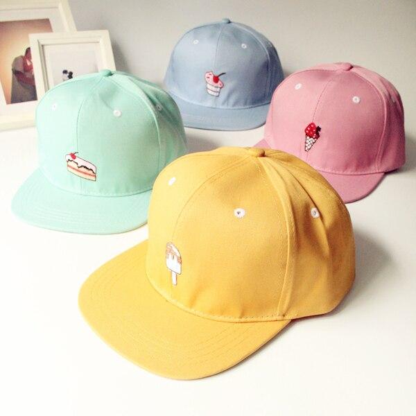 harajuku snapback caps 2017 korean cap men new spring summer ice cream embroidered baseball cap hip hop hat hats for men women chic ice cream color suede baseball hat