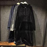 Good quality women winter warm velour long hoodie dress Sudaderas Mujer Warm Fleece Pullover Big Size hooded sweatshirts 122303