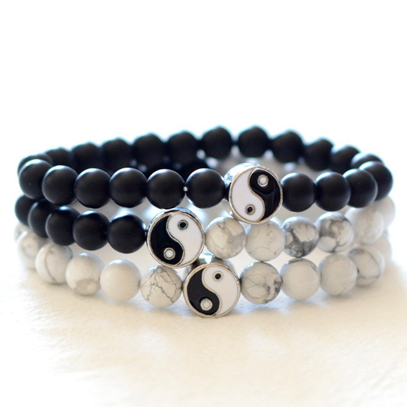 Fashion Lovers Bracelet Classic Natural Stone Sanding White And Black Yin-Yang Beads Bracelet Male And Female Bracelets Gifts