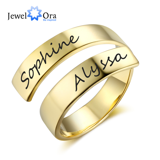 Personalized Gift Customize Engraved Name Stainless Steel Adjustable Rings For W