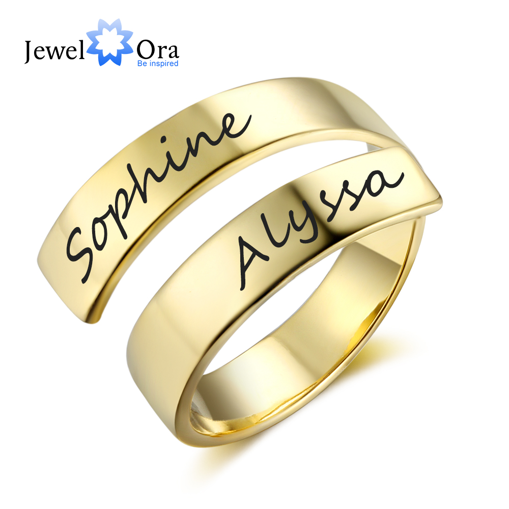 Personalized Gift Customize Engraved Name Stainless Steel Adjustable Rings