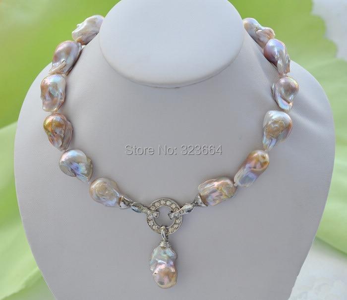 Rare 18 23mm lavender baroque keshi Reborn necklace pendant