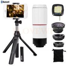 Wholesale 8X Telephoto Zoom Lens Fish eye Wide Angle Macro Lentes Telescope Monopod Tripod Bluetooth Shutter For iPhone 5s 6 6s 7 8 Plus