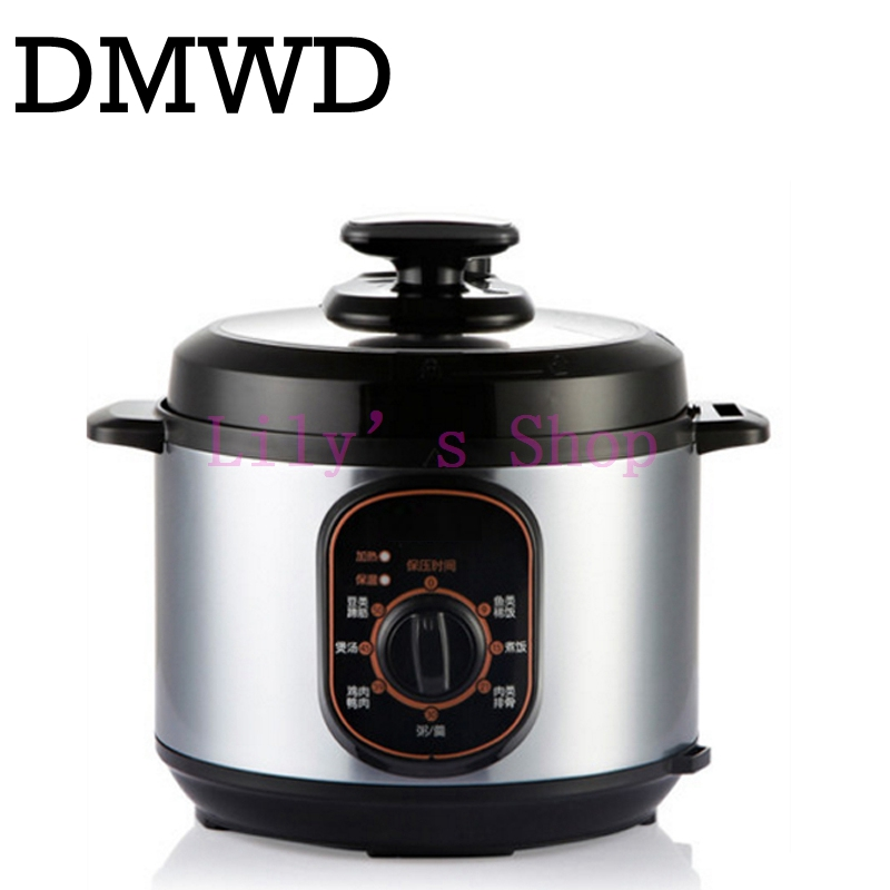 DMWD mini portable electric Rice Cooker pot Household Multifunction cooking machine pressure cooking saucepan 5L EU US plug 900W 110v 220v dual voltage travel cooker portable mini electric rice cooking machine hotel student multi stainless steel cookers