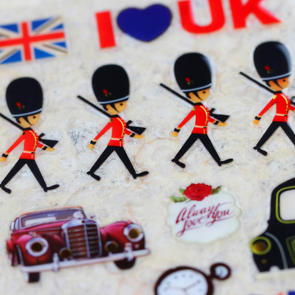 How to scrapbook uk - Uk Soldiers Cute Honour Guard Taxi Travel Mailbox Kawaii Emoji Reward Kid Children Scrapbooking Retro Crystal Stickers Diy Craft