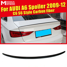 For Audi A6 A6a A6Q Carbon Rear Spoiler S6 Style Carbon rear spoiler Rear trunk Lid Boot Lip wing car styling Decoration 2009-12 стоимость