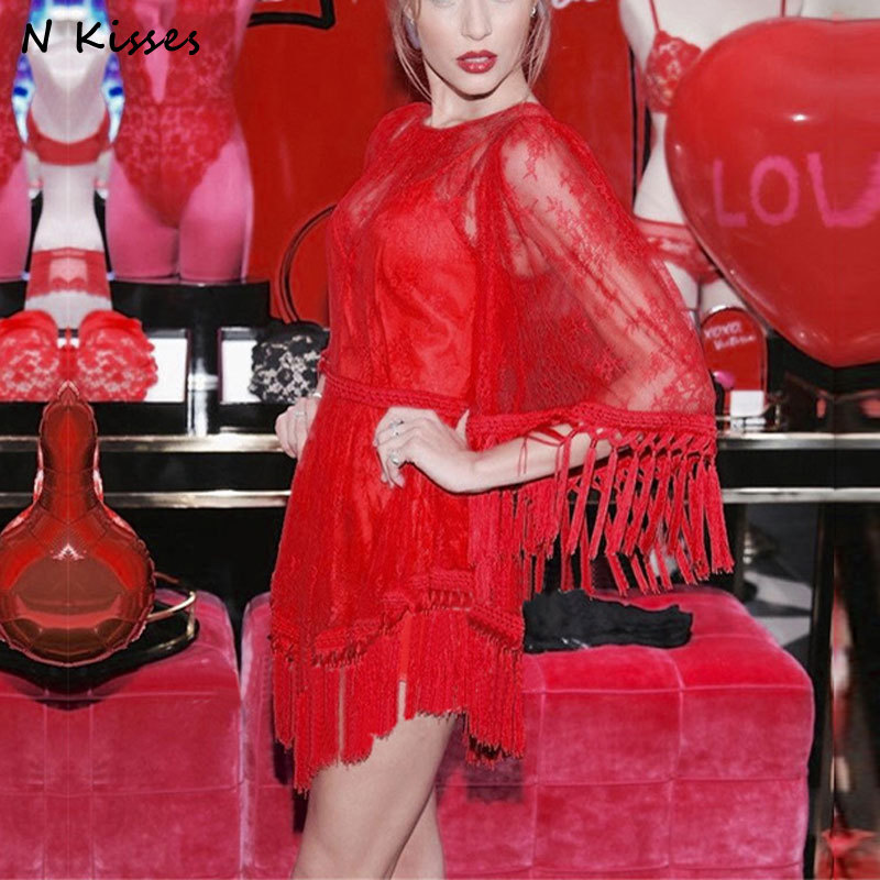 2017 New Luxury Brand Fashion Red Women High Waist Mini Dress Tassel Loose Lady Flare Sleeve