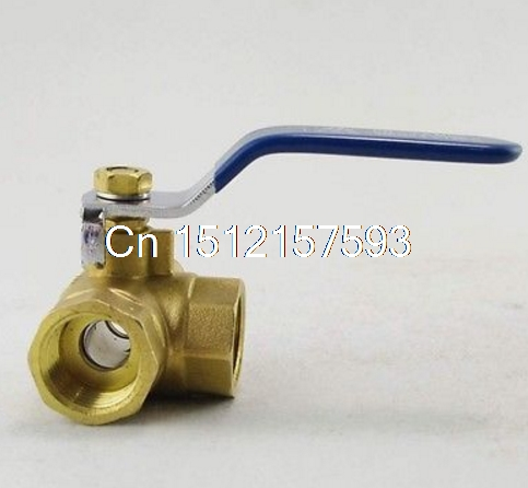 1/2 Inch BSPP Female Full Ports Brass Ball Valve T-type Three Way Connection x1 female to female f f 1 2 pt threaded yellow lever handle brass ball valve