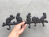 3 Cast Iron Rustic Cat Tail Coat Wall Hooks Decorative Key Hanger Cat Lovers Gift Brown Leash Collar Rack Pet Purse Towel Holder