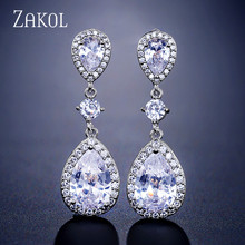 ZAKOL Classic Water Drop Shaped Cubic Zirconia Crystal Bridal Earrings Wedding Jewelry For Brides Bridesmaid FSEP2288